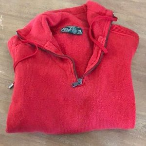 Thick red sweater with elbow patches